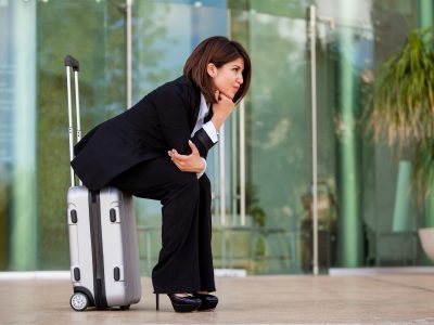 Businesswoman waiting at an airport